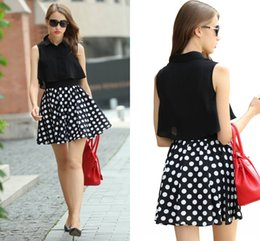 Wholesale Casual Mini Skirt Outfits - 2016 New Arrival Black Casual Suits Turn-down Collar Chiffon Dot Printed Shirt Pleated Skirt Women Sets 2 Pieces Outfits FS0310