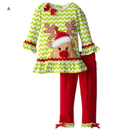 Wholesale Kid Girl Chevron Outfits - Christmas Kid Girl Boutique Outfit Sets Clothing Fashion Long Sleeve Chevron Bow T Shirt Top+Trousers Legging 2 Piece Suit Costume