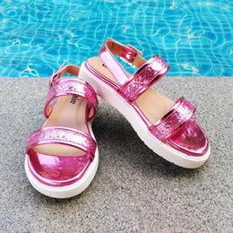 Wholesale Sandal Kids - New Arrival Kids Sandals for Girls Shinning Glitter PU Leather Metal PU Leather Pink Silver Gold