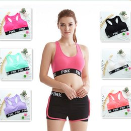 Wholesale Yoga Shirts For Women - Pink Yoga Bras Running sports Bra Shirts PINK letter jogging Bras Push Up Fitness Vest Elastic Crop Tops Sexy Underwear for women girls