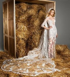Wholesale Zuhair Murad Wedding Veils - Zuhair Murad One Layer Bridal Veils Romantic Cathedral Length Wedding Veils With Lace Applique White Or Ivory Bride Veils