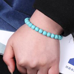 Wholesale Religion China - New Vintage Retro Jewelry Beads Bracelets Turquoise Beads Prayer Beads Bracelets Tiger Eye Beads Elastic Religion Buddha Bracelet 15BM035C2