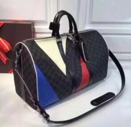 Wholesale Free Checks - 2014NEW Free shipping Women hot men's fashion travel bag multi-color stitching large-capacity travel bag
