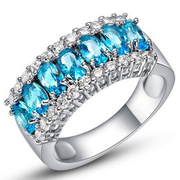 Wholesale Gold Filled Aquamarine Rings - Size 6-9 Blue Zircon Aquamarine Finger Rings White Gold Filled Ring For Women Wedding Engagement Rings Party Jewelry Aneis Wholesale