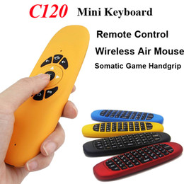 Wholesale Smart Tv Box Fly Mouse - Gyroscope Fly Air Mouse C120 Wireless Game Keyboard Android Remote Control Rechargeable 2.4Ghz Keyboard for Smart TV Box Mini PC