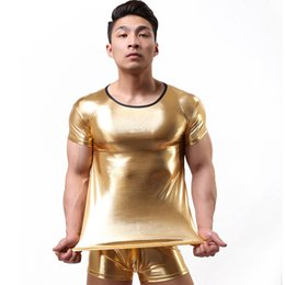 Wholesale Mens Fetish - 2016 New Sexy Style Mens Erotic Faux Leather Gloosy Bodysuit Fetish Underwear Gay Male Sexy Leotard Undershirts Wetlook Clubwear Lingerie