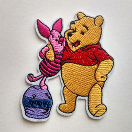 Wholesale Iron Patch Pig - Winnie the pooh hug piglet pig Iron On Embroidered Cartoon Patch Shirt Kids Gift Shirt Bags Decorate Individuality Badge