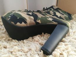 bombas verdes do exército Desconto Novidade Camuflagem Exército Verde Sapatos de Lona Dedo Do Pé Redondo Fino 14 cm de Fundo de Salto Alto Plataforma Bombas Slip-On Não-Couro Das Mulheres Sapatos