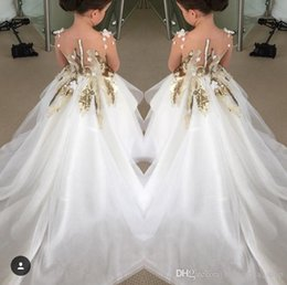 Wholesale New Model Dresses For Kids - New Long Sleeves Girls Pageant Dresses Gold Sequins Sheer Neck High Low Formal Kids Wear For Wedding Party Flower Girl Dress Cheap 2017