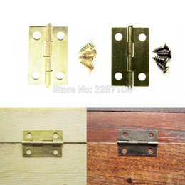 Wholesale Wholesale Hinges - Wholesale- 12pc Antique Brass Golden Jewelry Chest Gift Wine Music Wooden Box Case Furniture Dollhouse Door Window Hinge 16*24mm with screw