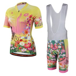 Wholesale Cycling Jersey Women Flower - Pro MTB miloto flower women summer cycling jersey short sleeve and bib shorts set gel pad quick dry cycling clothes racing wear