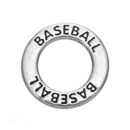 Wholesale Baseball Necklace Charms Silver - Myshape Antique silver plated Affirmation charms Engravesd Letter BASEBALL circle charms sports jewelry for bracelet necklaces
