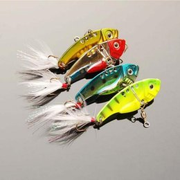 Wholesale Feather Blades - 20pcs Blade baits metal fishing lures Fresh Shallow Feathers Walleye Crappie swinger fly fishing hooks fishing lure Tackle VIB