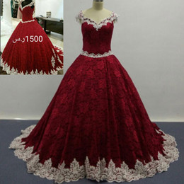 Wholesale Real Trim - Real Images 2016 Wine Red Ball Gown Full Lace Wedding Dresses V Neck with Ivory Lace Trimming Court Train Bridal Gowns