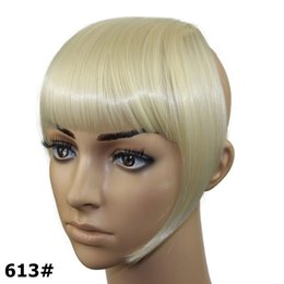 Wholesale Synthetic Fringe - Wholesale-Hair Extensions Bangs 2pcs Clips In Synthetic Heat Resistant Fiber Fake Bangs 19 Colors Available Fringe Hair Extensions