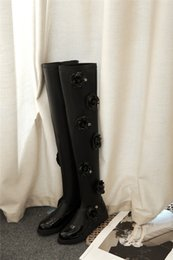 Wholesale White Flat Thigh High Boots - free ship! B064 34 2 COLORS GENUINE LEATHER 3D FLOWERS stretch THIGH BOOTS black white flat high