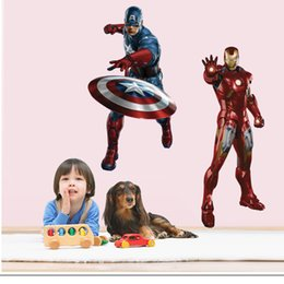 Wholesale Avengers Wall Stickers - Marvel's The Avengers Iron Man Captain America Wall Sticker Decals for Kids Room Home Decor Wallpaper Poster Nursery Wall Art