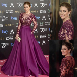 Wholesale Gold Sequin Line Dress - Zuhair Murad Burgundy Long Evening Dresses Beads Sheer Neck Long Sleeves Illusion Bodice Sequins Runaway Red Carpet Formal Prom Party Gowns