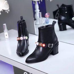 Wholesale womens black platform boots - Fashion New Womens Knight Boots Cowboy Shoes Platform Ankle Boots Genuine Leather Buckle Designer Luxury Winter Black Shoes