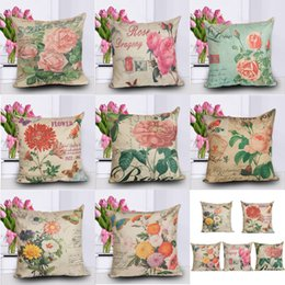 """Wholesale Flower Throw Pillow - 17"""" 8 Types Roses Flowers Cushion Covers Rose Flowers Printing Throw Pillow Cases Cushion Cases Valentine's Day Gift"""