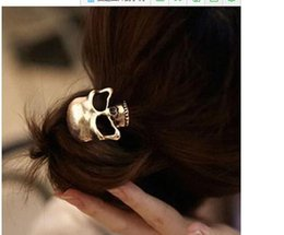 Wholesale Candy Skull Ring - Cheap Women Metal Gold Candy Color Skull Elestic Black Head Band Girl Hair Ring Rope Tie Ponytail Holder Hair Accessory Ornamen