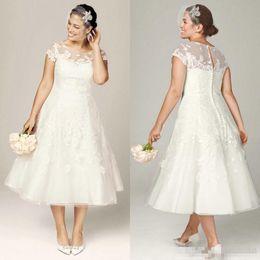 Wholesale Modest Tea Length Dresses - Modest Tea Length Plus Size Lace Applique Wedding Dresses Illusion Bodice Covered Buttons Custom Made Garden Country Bridal Gowns 2017 Cheap