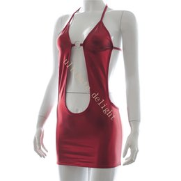 Canada Cuir verni rouge, pendaison de cou, dos nu, coupe basse, robe moulante, mini-jupe, femme, drap sexy Offre