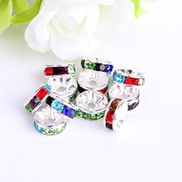 Wholesale European Beads Rhinestone Spacer Blue - 100 pcs Colour lot 6mm 8mm multicolor Rhinestone Silver Plated Big Hole Crystal European Beads spacer Loose Bead Bracelets Findings