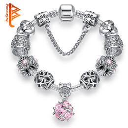Wholesale Pearl Crystal Bangle Bracelet - BELAWANG European Silver Plated Pink Crystal Pendant Beads Bracelets&Bangles Pink Murano Glass Beads&Simulated Pearl Heart Charm Bracelets