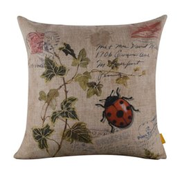 Wholesale Retro Flower Cushion Covers - Wholesale- Pillow Case New Flower ladybugs print pillow case retro vintage cushion case cover soft pillowslip square home living room deca