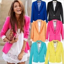 Wholesale Women Ol Slim Suits - New Blazer Fashion Women Candy Color Suit Blazer OL Commuter Blazer Woman Slim Solid color Lapel Jacket Single-breasted Long Sleeve Jackets