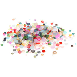Wholesale Crafting Pearls - Mixed Colors Half Round Resin Beads 2mm-5mm And Mixed Sizes 500pcs 1000pcs Flatback Round Glue On Pearls DIY Crafts Decoration