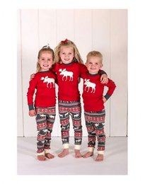 Wholesale Family Sale - hot sale top Christmas kids Family Matching Pajamas Set deer printed sets Adult fashion rompers girls boys Nightwear casual outfit wholesale