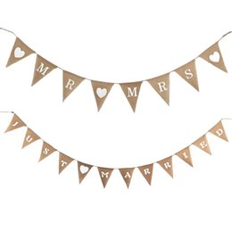 Wholesale Burlap Garland - Wholesale- Free Ship Mr & Mrs Wedding Photo Props Vintage Banner Jute Burlap Bunting Married Rustic Garland Party Hanging Decoration