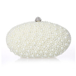 Wholesale Ivory Pearl Wedding Handbag - New Arrival 2016 Ivory Red Black Pearls Bridal Handbags For Women Cheap High Quality Hobos Diamonds Wedding Party Clutch Bags EN603