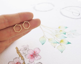 Wholesale Gold Post Earrings Wholesale - 20pairs lot Gold Silver Open Line Hive Hexagon Earring Cut Out Hexagon Honeycomb Post Earring Simple Geometric Stud S42