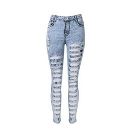 Wholesale Torn Women Jeans - WJ006 west fashion new hot women zippy fly tore up distressed washed denim jeans skinny slim pants