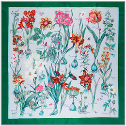 Wholesale Butterfly French - Female Spring Wraps High Quality 100% Twill Silk Scarves Floral Letters Butterfly Print Square Big Shawls French Design Luxury Pashmina