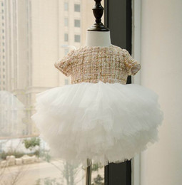 Wholesale Soft Tutu Dress - Spring Autumn New Baby Girl Party Dresses Short Sleeve Woolen Fluffy Dress Soft Gauze Tiered Dress Children Clothing E10101
