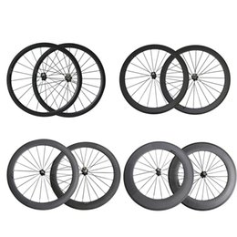 Wholesale Wheelset Clincher China - 700C Full carbon fiber wheelset clincher 38mm 50mm 60mm 88mm Road carbon wheels UD black matte with powerway hub from china