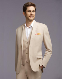 Wholesale Ivory Colored Men Suits - The latest fashion of cream-colored man wedding suit (jacket + pants + + vest) suits best man suit custom dance