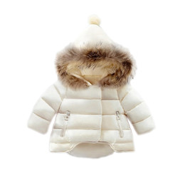 Wholesale Girls Parkas - cute baby girl parkas coat solid cotton overcoat for 1-6yrs girls children kids Winter jacket thick warm hooded outerwear hot