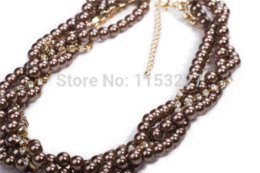 Wholesale Strings Gemstone Beads - Free shipping 2014 new design 3 layers pink simulated pearl string bead necklace costume jewelry Cheap necklace gemstone jewelry