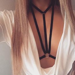 Wholesale Black Suspenders Lingerie - 2017 New Fashion Bra Underwear Sexy Lingerie Cage Bra Goth Harajuku Cupless Bondage Belt Suspender Garters Bras Women Black Bra