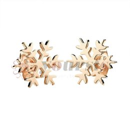Wholesale snow white plates - Yoursfs Rose-gold Color Titanium Steel Jewelry Free Environmental Girls Cute Snow Flake Stud Earrings