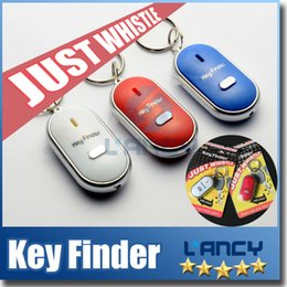 Wholesale Led Light Whistles - Whistle Activated Key Finder with LED Light and Switch Anti-Lost Alarm for Key Black White Blue Red Retail Packing