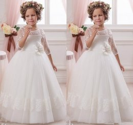 Wholesale Joan Calabrese Lace - Joan Calabrese Flower Girls Dresses For Weddings Gowns 2015 Long Sleeves Vintage Lace Mini Bridesmaids Birthday Pageant Dresses For Girls