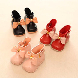 Wholesale Bow Rain Boot - Girl Boots Baby Kids Rain Boots baby girls Rain Boots Warm Beauty Bow Rainboots Fashion Rubber Shoes Toddler Kids Jelly shoes