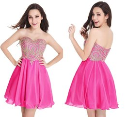 Wholesale Junior Pink Lace Cocktail Dress - Cheap In Stock Fuchsia Chiffon Homecoming Dresses Gold Lace Applique Sweetheart Short Cocktail Dresses Junior Girls Party Dresses CPS406