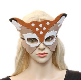 Wholesale Children Party Masks - a61 Foreign trade Christmas party party half face deer face male and female children adults decorations mask wholesale